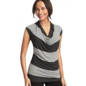 CAbi Gray Stripe Cowl Neck Tunic Top Drape Jersey